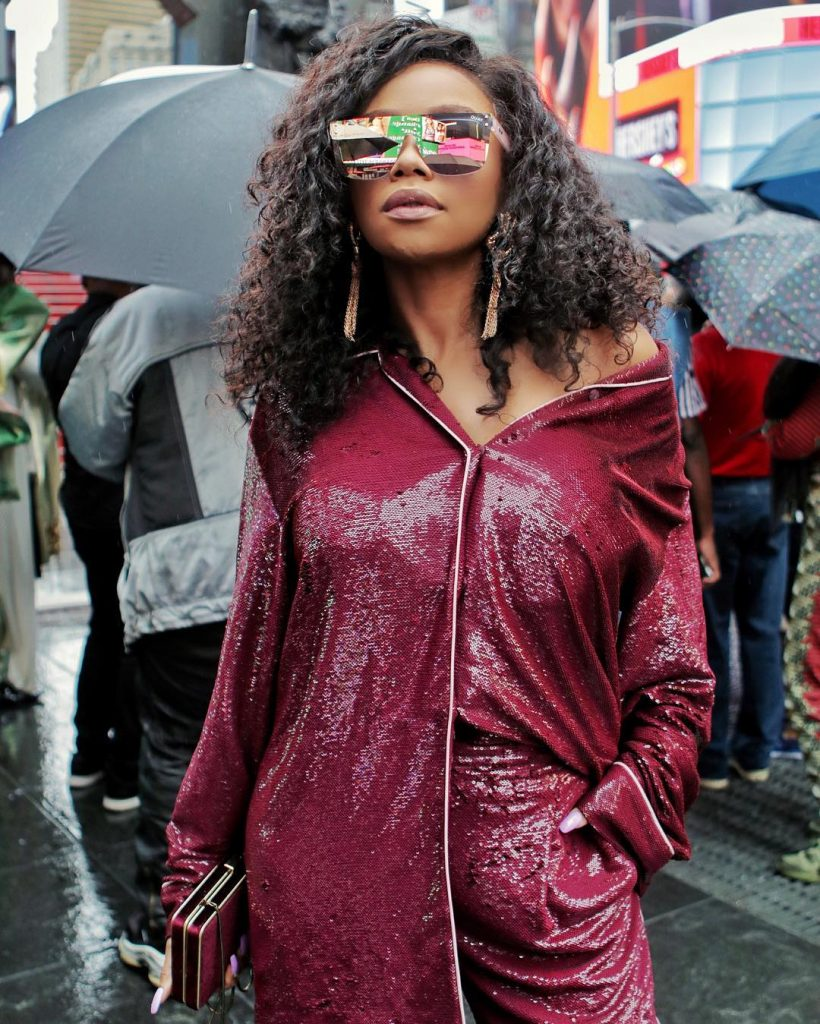 SOUTH AFRICAN MEDIA PERSONALITY BONANG MATHEBA IS AT NEW YORK FASHION WEEK AND KILLING THE STYLE GAME!