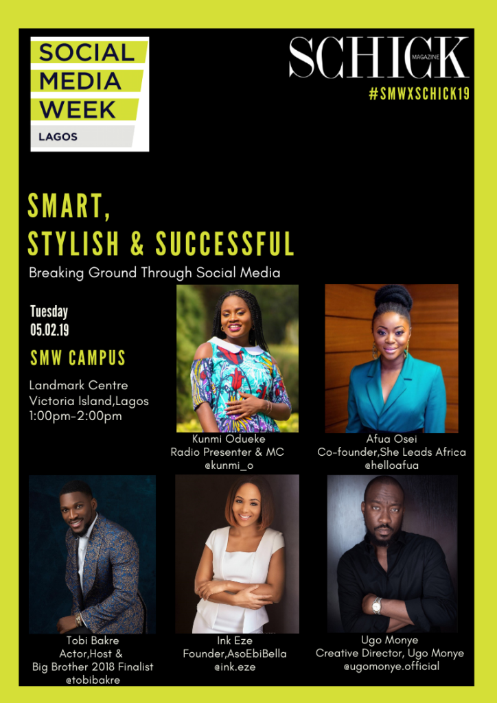 SCHICK MAGAZINE IS HOSTING A PANEL DISCUSSION AT THE 2019 SOCIAL MEDIA WEEK LAGOS
